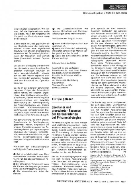 Spontaner und provozierter Spasmus der Koronararterien bei Prinzmetal-Angina