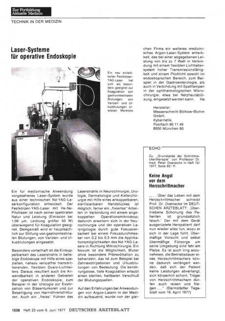 1977, Seite 651 ff. Keine Angst vor dem Herzschrittmacher