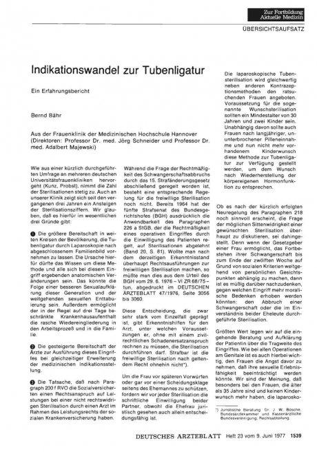 Indikationswandel zur Tubenligatur: Ein Erfahrungsbericht
