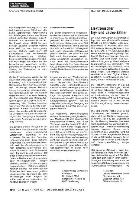 Elektronischer Ery- und Leuko-Zähler