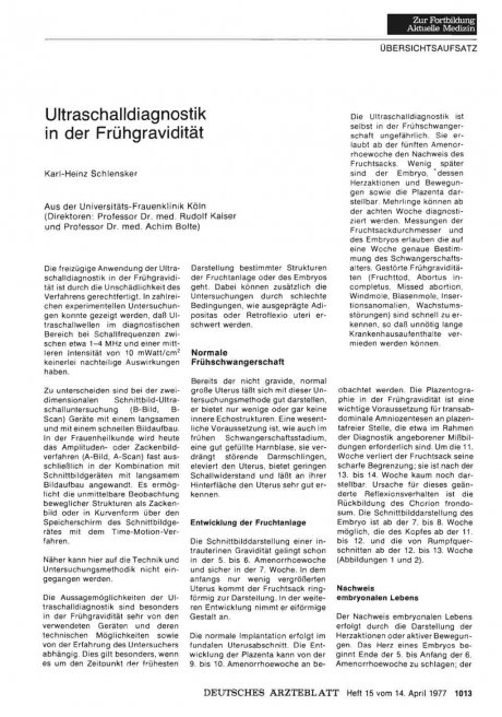 Ultraschalldiagnostik in der Frühgravidität