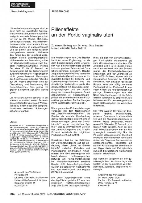Pilleneffekte an der Portio vaginalis uteri