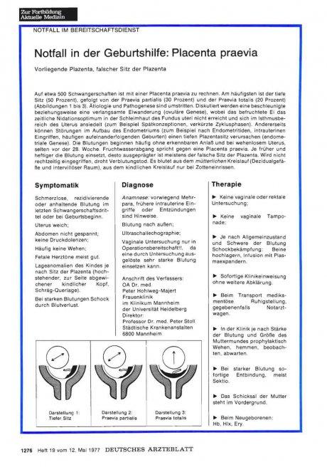 Notfall in der Geburtshilfe: Placenta praevia - Vorliegende Plazenta, falscher Sitz der Plazenta