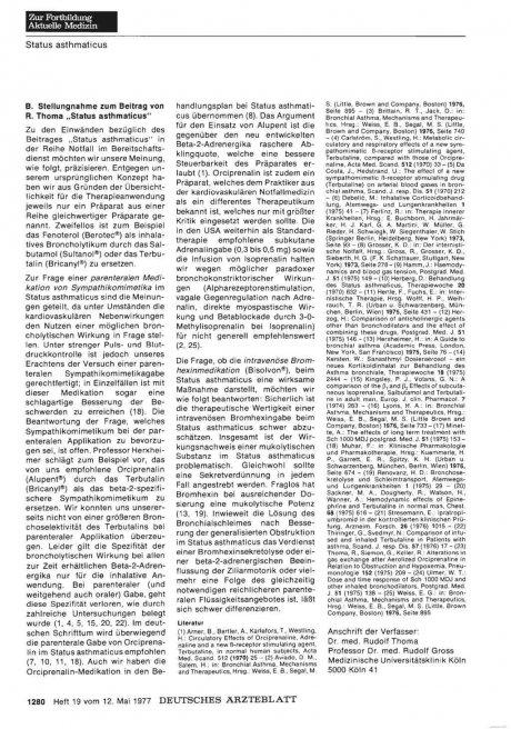 """Asthma-Behandlung: B. Stellungnahme zum Beitrag von R. Thoma """"Status asthmaticus"""""""