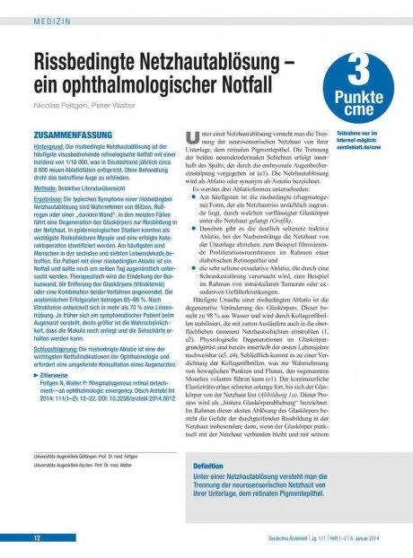 Rissbedingte Netzhautablösung – ein ophthalmologischer Notfall