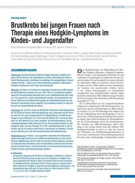 Brustkrebs bei jungen Frauen nach Therapie eines Hodgkin-Lymphoms im Kindes- und Jugendalter