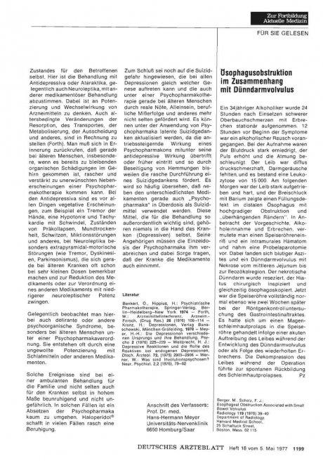 ösophagusobstruktion im Zusammenhang mit Dünndarmvolvulus