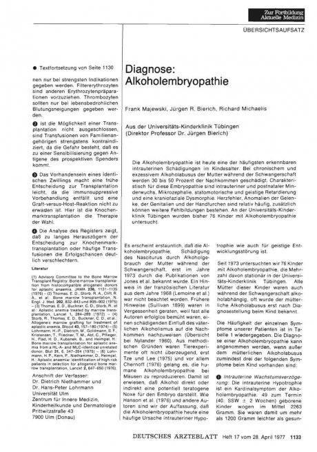 Diagnose: Alkoholembryopathie