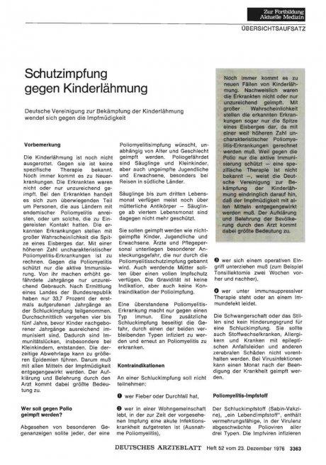 Schutzimpfung gegen Kinderlähmung: Deutsche Vereinigung zur Bekämpfung der Kinderlähmung wendet sich gegen die Impfmüdigkeit