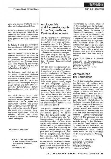 Akrosklerose bei Sarkoidose