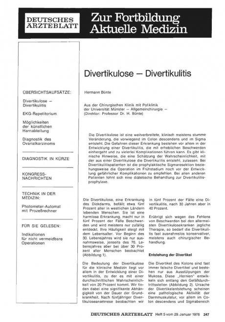 Divertikulose — Divertikulitis