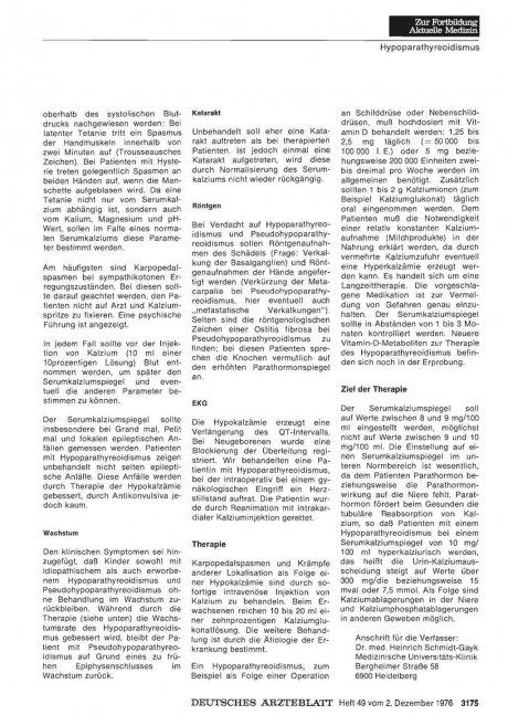Klinik und Therapie des primären Hyperparathyreoidismus