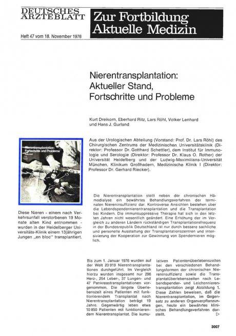 Nierentransplantation: Aktueller Stand, Fortschritte und Probleme