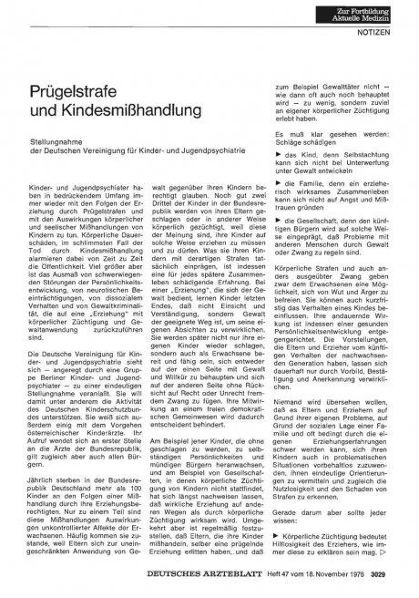 Prügelstrafe und Kindesmißhandlung: Stellungnahme der Deutschen Vereinigung für Kinder- und Jugendpsychiatrie