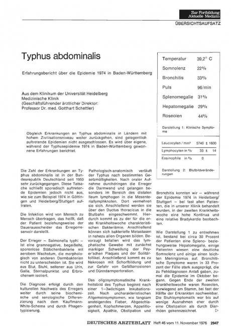 Typhus abdominalis Erfahrungsbericht über die Epidemie 1974 in Baden-Württemberg