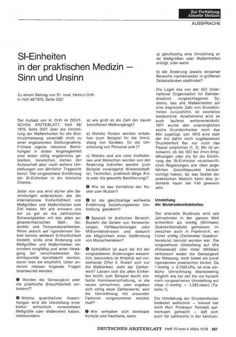 SI-Einheiten in der praktischen Medizin — Sinn und Unsinn