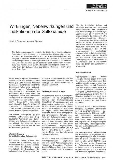 Wirkungen, Nebenwirkungen und Indikationen der Sulfonamide