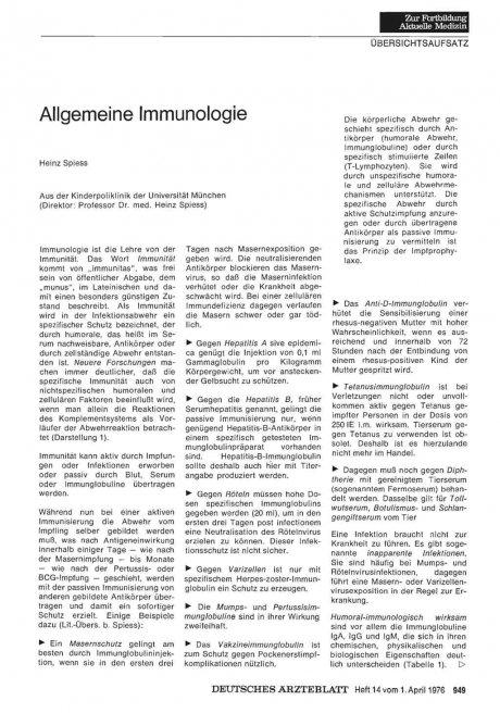 Allgemeine Immunologie