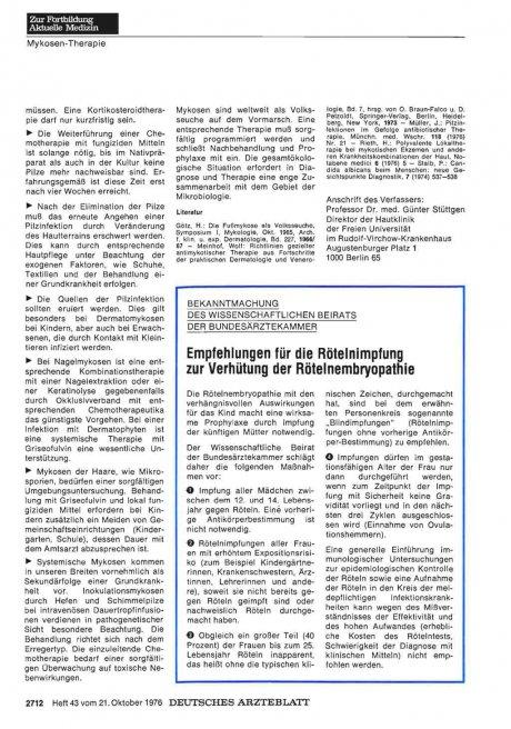 Empfehlungen für die Rötelnimpfung zur Verhütung der Rötelnembryopathie