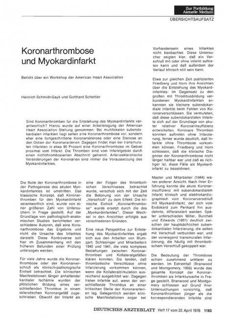 Koronarthrombose und Myokardinfarkt