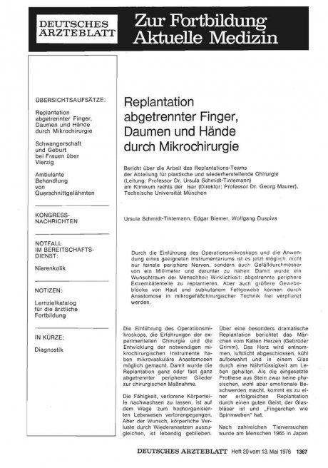 Replantation abgetrennter Finger, Daumen und Hände durch Mikrochirurgie