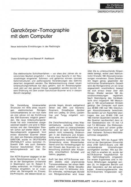 Ganzkörper-Tomographie mit dem Computer: Neue technische Einrichtungen in der Radiologie