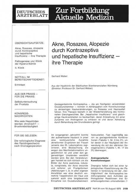 Akne, Rosazea, Alopezie durch Kontrazeptiva und hepatische Insuffizienz— ihre Therapie