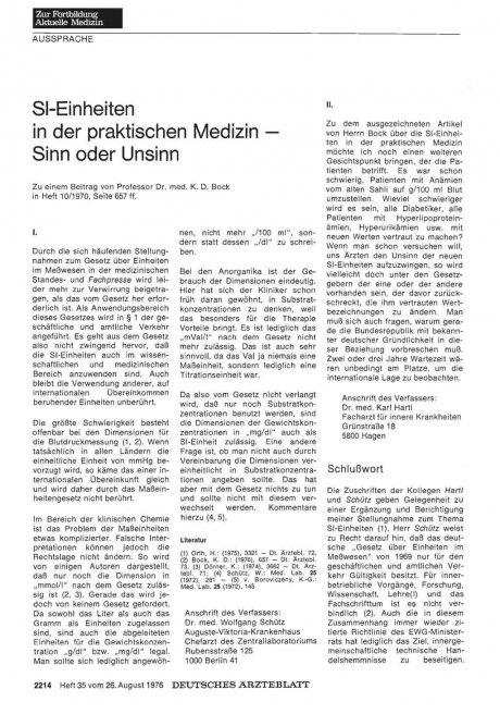 SI-Einheiten in der praktischen Medizin — Sinn oder Unsinn: I.