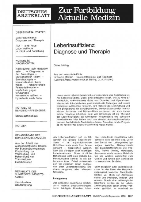 Leberinsuffizienz: Diagnose und Therapie