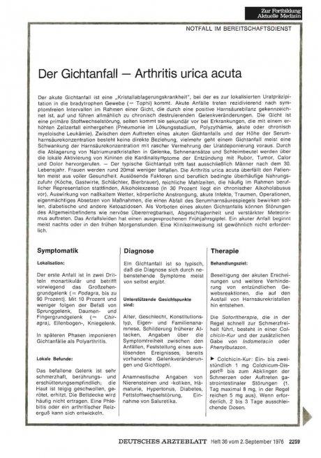 Der Gichtanfall — Arthritis urica acuta