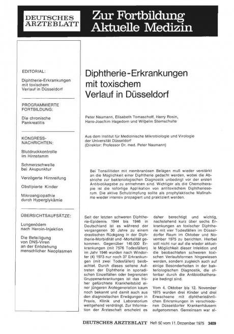 Diphtherie-Erkrankungen mit toxischem Verlauf in Düsseldorf