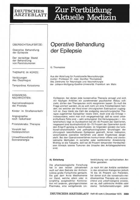 Operative Behandlung der Epilepsie
