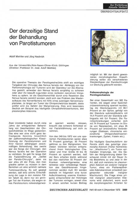 Der derzeitige Stand der Behandlung von Parotistumoren