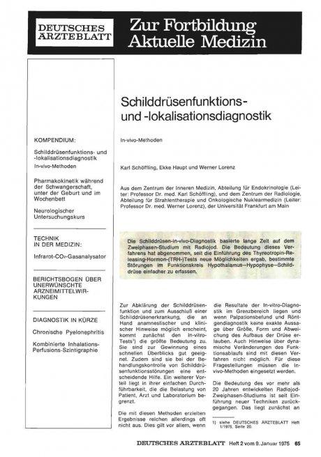 Schilddrüsenfunktions und -lokalisationsdiagnostik: In-vivo-Methoden