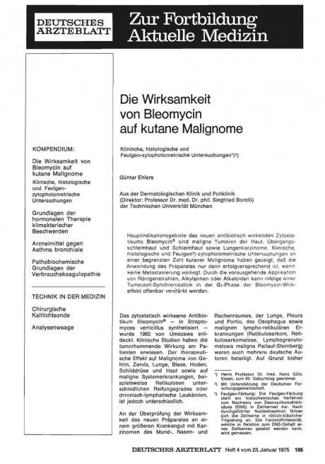 Die Wirksamkeit von Bleomycin auf kutane Malignome