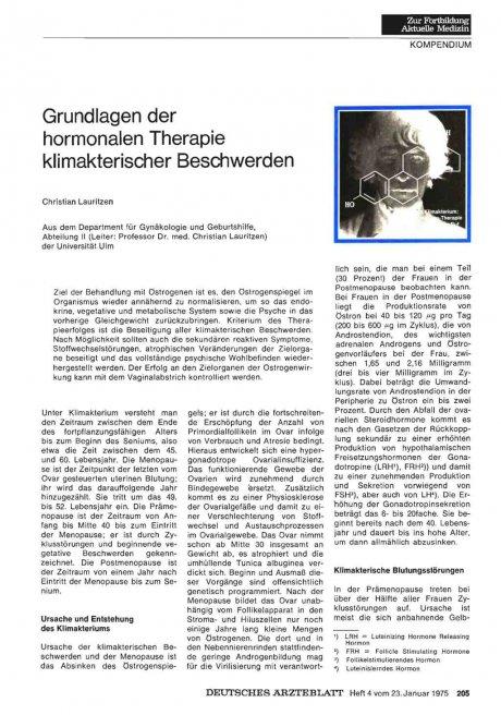 Grundlagen der hormonalen Therapie klimakterischer Beschwerden