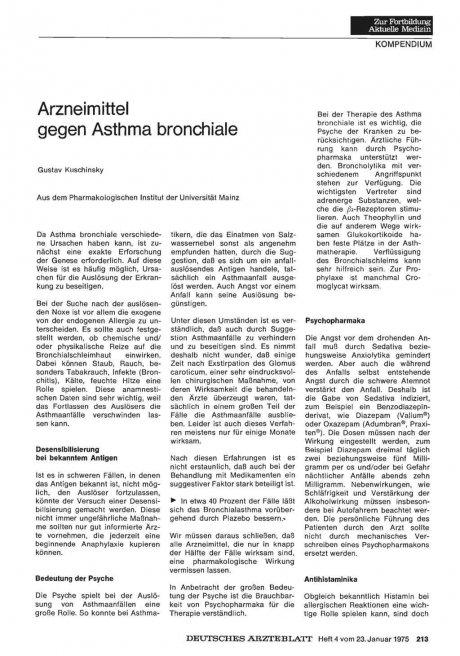 Arzneimittel gegen Asthma bronchiale