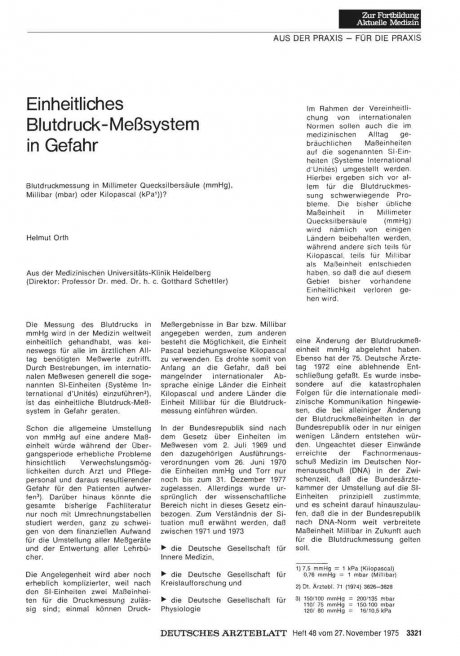 Einheitliches Blutdruck- Meßsystem in Gefahr: Blutdruckmessung in Millimeter Quecksilbersäule (mmHg), Millibar (mbar) oder Kilopascal (kPa 1))?