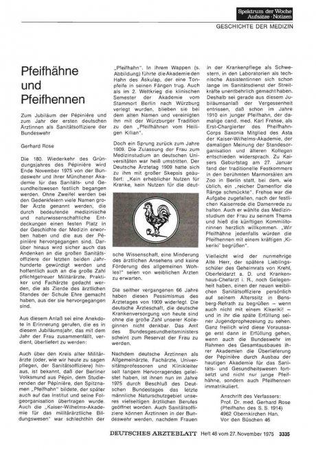 Pfeifhähne und Pfeifhennen: Zum Jubiläum der Pepiniöre und zum Jahr der ersten deutschen Ärztinnen als Sanitätsoffiziere der Bundeswehr