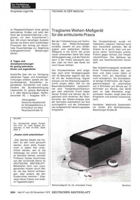 Tragbares Wehen-Meßgerät für die ambulante Praxis