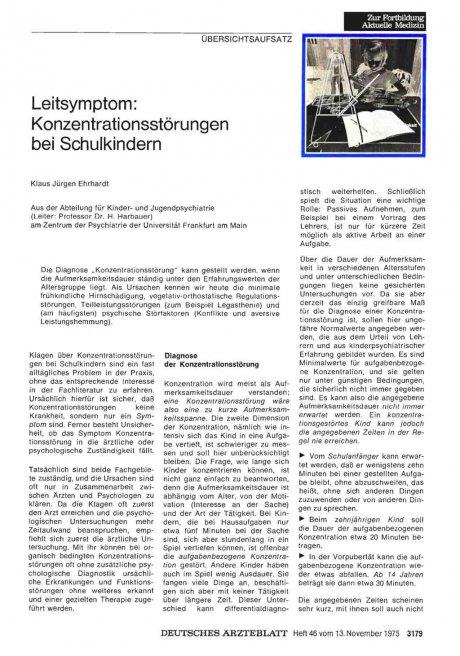 Leitsymptom: Konzentrationsstörungen bei Schulkindern