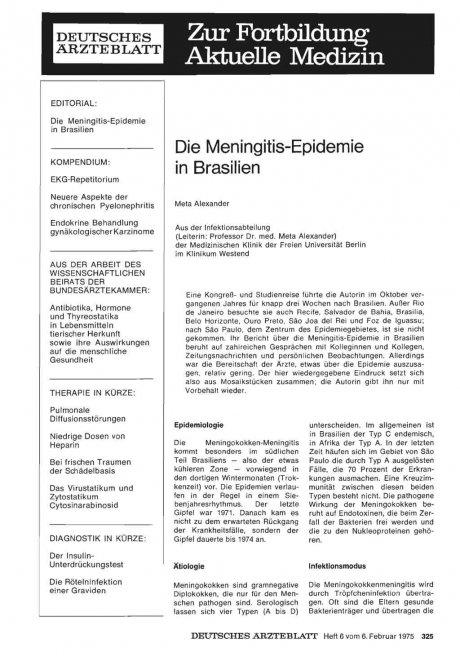 Die Meningitis-Epidemie in Brasilien