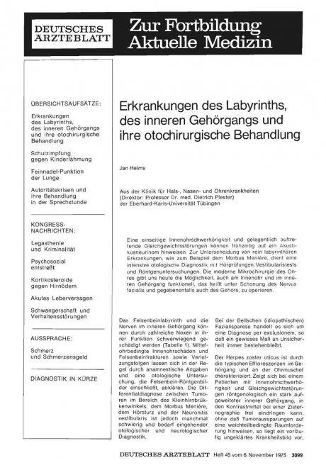 Erkrankungen des Labyrinths, des inneren Gehörgangs und ihre otochirurgische Behandlung