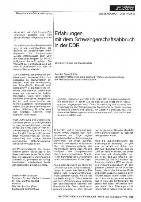Erfahrungen mit dem Schwangerschaftsabbruch in der DDR