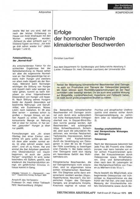 Erfolge der hormonalen Therapie klimakterischer Beschwerden