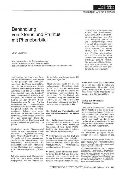 Behandlung von Ikterus und Pruritus mit Phenobarbital