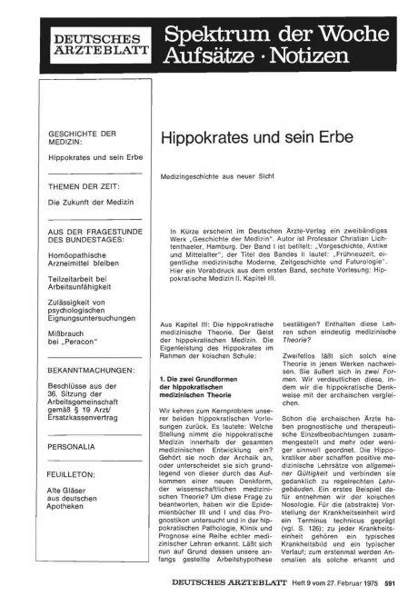 Hippokrates und sein Erbe
