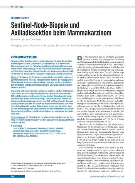 Sentinel-Node-Biopsie und Axilladissektion beim Mammakarzinom