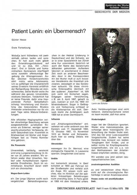 Patient Lenin: ein Übermensch?