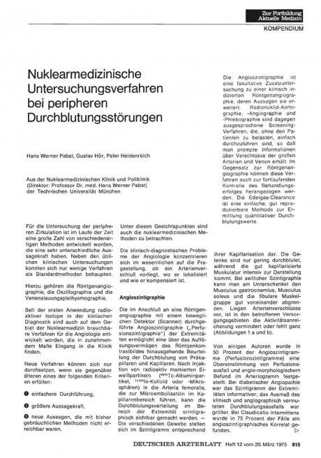 Nuklearmedizinische Untersuchungsverfahren bei peripheren Durchblutungsstörungen